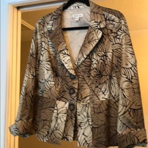 Coldwater Creek Sz 16 blazer tan brown pattern